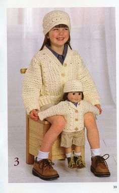 """Best Friends Matching Girls and Dolls Outfits to Knit and Crochet - Four Patterns for Girls, the American Girl and other 18"""" Dolls - LA-0016. $3.95, via Etsy."""