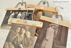 Decorated Wood Hangers for photos or clipboards