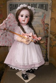Lovely all perfect French bisque doll by Jumeau ... France circa 1890 .... with very sweet childlike expression and nice antique clothing with