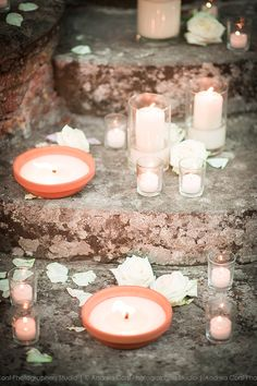 Candles on the stairs of the castle Castello di Meleto Andrea Corsi photographer