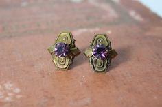 Vintage Art Deco Amethyst Earrings by cocoandorange on Etsy