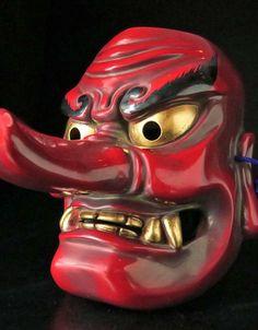Japanese mask with long nose Tengu Tattoo, Mask Tattoo, Irezumi Tattoos, Irezumi Sleeve, Japanese Demon Mask, Opera Mask, Oni Mask, Japan Landscape, Tattoos Skull