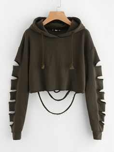 6e70323afa95a Rock Pullovers Drawstring and Ripped Plain Regular Fit Hooded Long Sleeve  Army Green Crop Length Drop Shoulder Ladder Cutout Sleeve Crop Hoodie