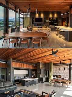 The deep colors and textures of the interior palette and natural exterior materials used throughout this modern home provide a rich backdrop to the sweeping views, with spaces planned to take in as much of the outdoors as possible while still keeping the homeowners warm and snug in winter.