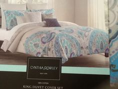 CYNTHIA ROWLEY Turquoise Blue, Purple, Teal Paisley Full/Queen Duvet Cover Set