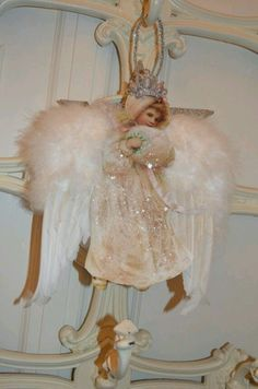 Items similar to Angel Decoration.Regina Queen of the Angels. on Etsy Victorian Christmas Ornaments, Shabby Chic Christmas, Vintage Ornaments, Pink Christmas, Christmas Angels, Christmas Holidays, Christmas Crafts, Christmas Decorations, Vintage Santas