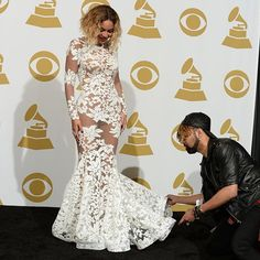 """""""Best moment of my life"""" Beyonce at the Grammys wearing my gown , with @tytryone ty hunter stylist @raqraq10"""