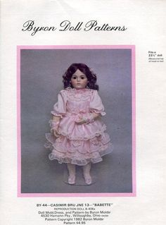 Byron Doll Pattern 1980's 44 Casimir Bru Babette fits 23.5 New Old Store Stock Sewing Pattern by LanetzLivingPatterns on Etsy