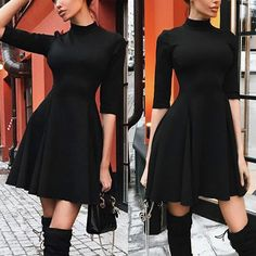 6a24775841 Solid Color Round Neck Slim Long Sleeve Dress. Half SleevesHalf Sleeve  DressesDresses With SleevesBlack ...