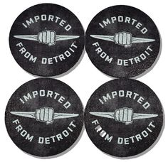 What better way to show your Detroit love than with this set of 4 coasters featuring the Imported From Detroit logo on a very urban-chic distressed background. Made from 100% recycled car tire in the USA.