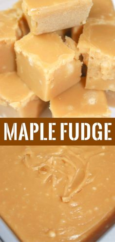 Maple Fudge is a rich and creamy dessert recipe. This easy stove top fudge is made with brown sugar. Fall Dessert Recipes, Candy Recipes, Sweet Recipes, Baking Recipes, Delicious Desserts, Fall Desserts, Cookbook Recipes, Cookie Recipes, Snack Recipes