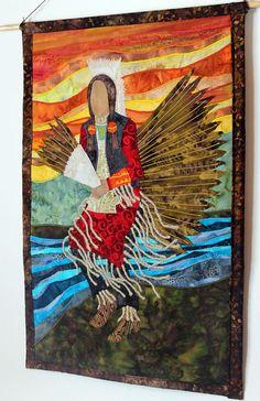 Native American Traditional Dancer, Mens Regalia, art quilt by JPG Studio 2536