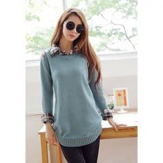 $14.68 Shirt Neck Long Sleeves Fashionable Style Acrylic Checked Splicing Sweater For Women