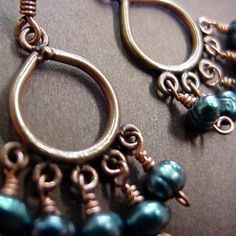 Teal pearls dangle eloquently from copper chandelier earrings. Add a dash of style to your everyday outfit when you wear these little pretties. Copper Gifts, Handmade Copper, Copper Earrings, Copper Jewelry, 30th Anniversary Gifts, Blue Pearl, Chandelier Earrings, Teal Blue, Jewelry Design