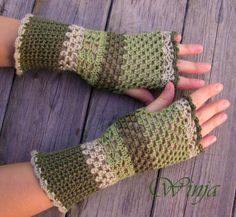 Crochet fingerless gloves, arm warmers, crochet mittens,  knitted fingerless gloves, autumn gloves,  green knit gloves, boho gloves,