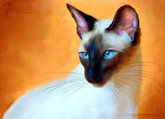 Siamese Blue - Signed Limited Edition Art Print by Denise Laurent