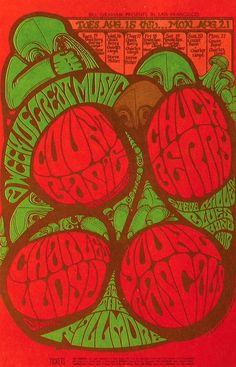 Count Basie, Chuck Berry, the Young Rascals, Charles Lloyd, and the Steve Miller Blues Band  - a week's lineup at the Fillmore.  Classic rock music psychedelic concert poster ☮ ☮ Hippie Style ☮ ☮