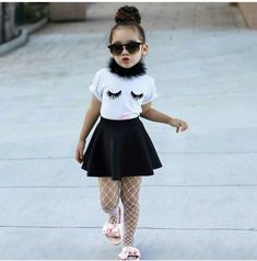 Children's Summer Girl Short Sleeve Emotional Patterns T-shirt Top + Black Skirt Two Kids'Suits - wholesale baby girl clothing set - Cute Girl Outfits, Kids Outfits Girls, Cute Outfits For Kids, Toddler Girl Outfits, Fashion Kids, Baby Girl Fashion, Toddler Fashion, Kids Suits, Clothes