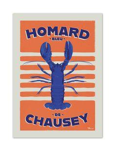 €25 . Affiche Illustration Originale HOMARD DE CHAUSEY . Papier 350g/m² Couché Mat