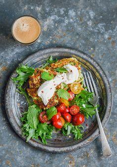 zucchini & pea fritters with feta yoghurt whip