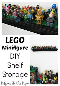 Don't miss the Halloween adventures of the LEGO Minifigures. The new series 14 of LEGO Minifigures flew off the shelves, but check them out here. Lego Display Shelf, Lego Shelves, Lego Minifigure Display, Cool Shelves, Lego Storage, Storage Shelves, Kids Storage, Shelving, Lego Decorations
