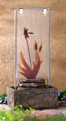dragonfly glass fountain