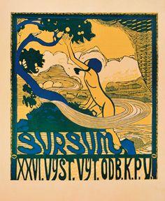 Josef Vachal (1884-1969), 1910, Sursum. (Czech, Lowry collection). Art Nouveau, Art Deco, Personal Library, Museum, Lost Art, Ex Libris, Art And Architecture, Printmaking, Illustration
