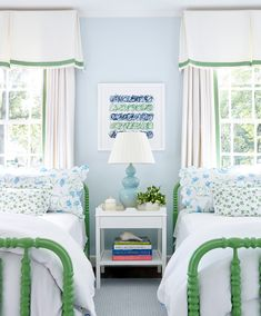 blue and green girls' twin bedroom
