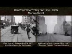 San Francisco, Before and After the Earthquake and Fire, 1906 'Here is a side-by-side comparison of two filmed journeys down Market Street shot in April of 1906 sourced from the Prelinger Archives. Historical Pictures, Historical Fiction, Side By Side Video, Tapestry Of Grace, Incredible Film, San Francisco Earthquake, Usa People, St Just, Silent Film Stars