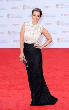 Louise Redknapp Button Down Shirt - Louise Redknapp chose a romantic red carpet look when she sported this nude lace denim top with a lace skirt. Denim And Lace, Denim Top, Louise Redknapp, Tv Awards, Nice Dresses, Formal Dresses, Shopping Day, Red Carpet Looks, Fall Wardrobe