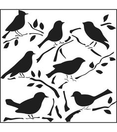 The Crafter's Workshop brings you this delightful and versatile stencil to use in your scrapbooking and mixed-media projects. Use it with spray inks and paints to create a beautiful artistic background. Birds stencil is suitable for paper, fabric and mor Bird Template, Bird Stencil, Animal Stencil, Damask Stencil, Free Stencils, Bird Silhouette, Stencil Designs, Amazon Art, Silhouettes