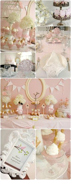 pretty bird theme pink baby shower ideas for girls