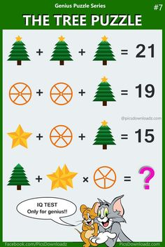 Solve this latest logic math puzzle that will leave you scratching your head. fail to answer this puzzle. The Tree Puzzle, Math IQ Test - Only for genius brain teasers math puzzle with the correct answer. The Tree Puzzle solution! Math Riddles With Answers, Puzzles And Answers, Quiz With Answers, Word Riddles, Math Puzzles Brain Teasers, Math Logic Puzzles, Mind Puzzles, Fun Math, Math Games