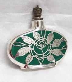 German vintage floral 1920's Crown Top Mini Perfume w/Sterling Silver Overlay