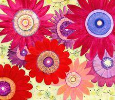 Abstract Art Retro Flower Painting Mixed Media - Summer Crush by Sascalia by sascalia, via Flickr