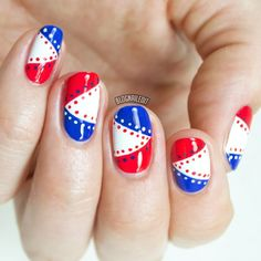 Red White and Blue Nails With Stitching Detail.  Perfect for 4th of July!