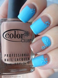 Flowery Half Moon Mani (by Nail Stories) using Best Dressed List from Color Club + blue polish + blue flower stickers