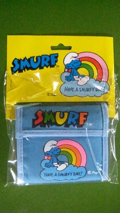 SALE  Vintage 1980s SMURF Blue or Red Canvas Wallet by unicornkids, $35.00