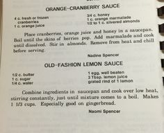 Orange Cranberry Sauce and Old Fashioned Lemon Sauce for gingerbread