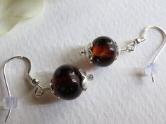 Dangle Earrings Dark Red Lampwork Beads and by Smokeylady54