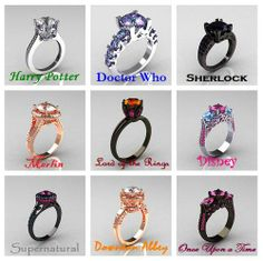 Popular movie and TV show themed engagement rings!   Originally found on The Doctor Who Hub Facebook Page:  https://www.facebook.com/photo.php?fbid=618990961488932&set=a.414413855279978.99986.276710412383657&type=1&theater