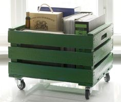 Another idea for a DIY rolling cart. Can find these items at Home Depot and Ace Hardware.