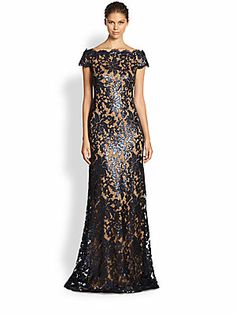 Tadashi Shoji Sequined Lace Gown ~~ Gorgeous!! Light reflections off of sequined floral lace detailing would make this a great New Year's Eve party gown. @Saks Fifth Avenue