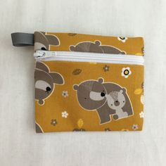 Bears on Gold Zipper Coin Purse, Credit Card, Earbud, iPod Pouch by NancyPKdesigns on Etsy