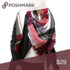 """Plaid Check Blanket Scarf Acrylic Stunning scarf in vibrant colors of navy, red, yellow and white. Soft Acrylic. Measures 55"""" by 55"""". Accessories Scarves & Wraps"""