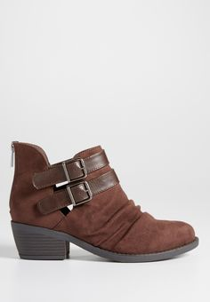 Jax faux suede double buckle ankle bootie in brown (original price, $44.00) available at #Maurices