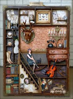Dollhouse scene in tray