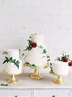 Modern greenery wedding cakes: Floral Design: Mignon Floral Co. - http://www.stylemepretty.com/portfolio/mignon-floral-co Cake: Batter up Bakery - http://www.stylemepretty.com/portfolio/batter-up-bakery Photography: Kristine Herman Photography - www.kristineherman.com/   Read More on SMP: http://www.stylemepretty.com/2017/03/27/modern-warehouse-wedding-ideas/