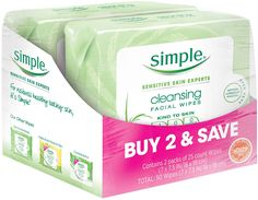 Simple Cleansing Facial Wipes 25 ct Twin Pack