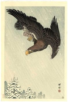 KOSON Japanese Woodblock Print EAGLE IN A SNOW STORM 1933 #Watanabe